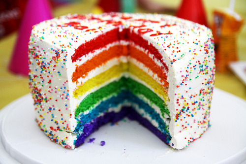 HAPPY BIRTHDAY MIGLET! Expect this delish rainbow cake when you return home!