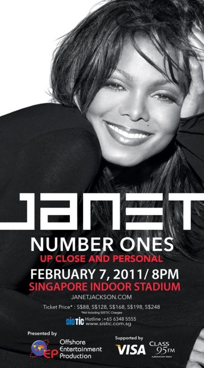 "# 73: 1 concert, 2 divas I was extremely happee to get an invite to Janet Jackson's Number Ones concert at Indoor Stadium because 1/ I had never been to any Janet's concert & 2/ I hadn't been to Indoor Stadium before even I didn't really know any song from her. But hey, it was even better since you didn't have any expectation whatsoever :) The concert was sensational and we stood up and danced most of the time (except when Janet sang some ballads of course!). The choreography was also fascinating and extremely energetic! I just loved every minute of it even the graphic display at the backdrop was quite random and not thoroughly thought through and Janet's interaction with audiences wasn't really ""up close & personal"" as per the name of the concert! Anyway, it was still a very good concert to me :)  The best part was that not only I met 1 diva (Janet Jackson) in 1 concert but I also had a chance to meet another diva whose name is Siti Nurhaliza in this concert. Apparently she is a very famous singer in Malaysia and my friends all know about her except me. They had to really point and show me where she was :) This really makes me realize that being famous or being a celebrity is quite relative as you can be extremely famous in one country and millions of people adore you there but you can also be just an ordinary person in another country where no one really knows about you. So always being humble is the way to go I guess :)"