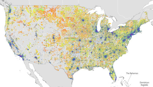 Map showing broadband access across the United States