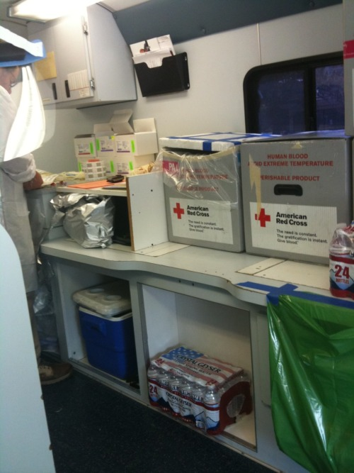 3.29.11 Donating blood in the red cross bus.  Hopefully someone will benefit.  :)