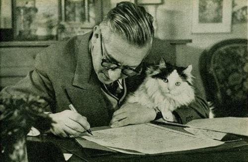 writersandkitties:  Jean-Paul Sartre and his existentialist kitty,  Sartre: Hell is other people. Cat: Meow. (Translation: Duh. Told you so.)