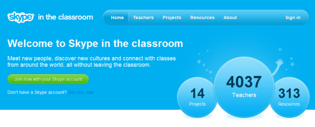 Skype In The Classroom: An International Social Network For Teachers Skype realizes  full well its software is used by many school teachers and students from  around the globe, and today announced that it has built a dedicated  social network to help them connect, collaborate and exchange knowledge  and teaching resources over the Web. This morning, the company launched a free international community site dubbed Skype in the Classroom, an online platform designed to help teachers find each other and relevant projects according to search criteria such as the age groups they teach, location and subjects of interest. The platform, which has been in beta since the end of December,  already has a community of more than 4,000 teachers, across 99  countries. Teachers need only sign up with their Skype account at the website,  create a profile with their interests, location and the age groups they  teach and start connecting with other teachers by exploring the  directory, where they can also find projects and resources that match  their skills, needs or interests. A members-only community, Skype in the Classroom lets teachers easily  add each other to their Skype contact lists or message one another.