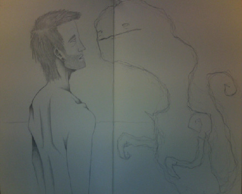 what i'm currently working on in my sketchbook.too lazy to scan it though, i need to get around to scanning some of my more recent work. maybe i will tonight.