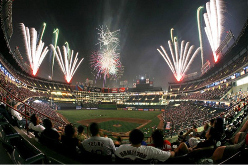 The Ballpark in Arlington. Opening day is this Friday. Can't wait for the many nights like this.