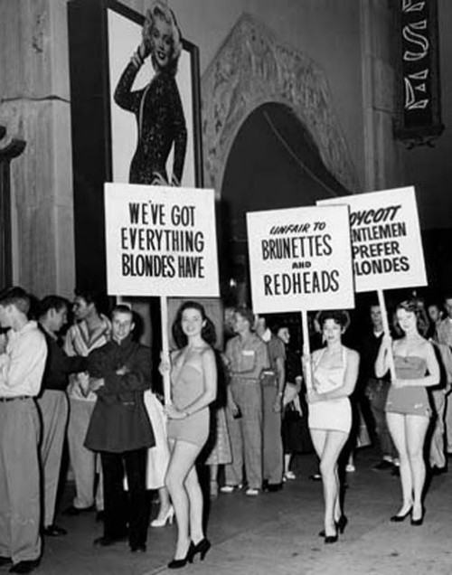 "Boycotting ""Gentleman Prefer Blondes"" premiere"
