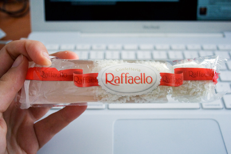 day #25: raffaello i think the fact that one of them was already missing before i could take a photo goes to show how much the boyfriend loves these! :D