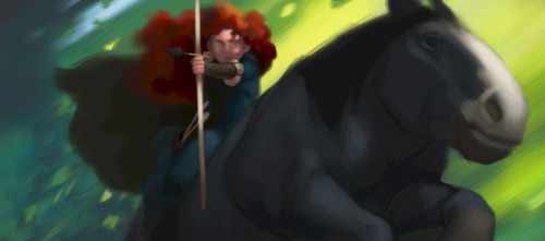 Brave concept art #4 Synopsis: The film features Kelly Macdonald as the voice of Merida, a skilled archer and the daughter of King Fergus (voice of Billy Connolly) and Queen Elinor (voice of Emma Thompson). Determined to carve her own path in life, Merida defies an age-old custom sacred to the uproarious lords of the land: massive Lord MacGuffin (voice of Kevin McKidd), surly Lord Macintosh (voice of Craig Ferguson) and cantankerous Lord Dingwall (voice of Robbie Coltrane). Merida's actions inadvertently unleash chaos and fury in the kingdom, and when she turns to an eccentric old Wise Woman (voice of Julie Walters) for help, she is granted an ill-fated wish. The ensuing peril forces Merida to discover the meaning of true bravery in order to undo a beastly curse before it's too late.