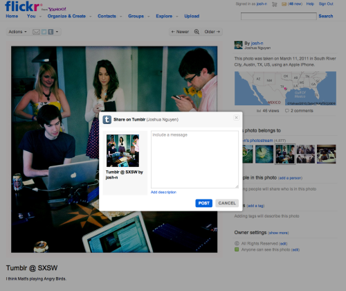 staff:  Awesome! Our friends at Flickr have updated their share feature to include Tumblr as one of the featured destinations.  Aww, we feel so loved - and we love you too!