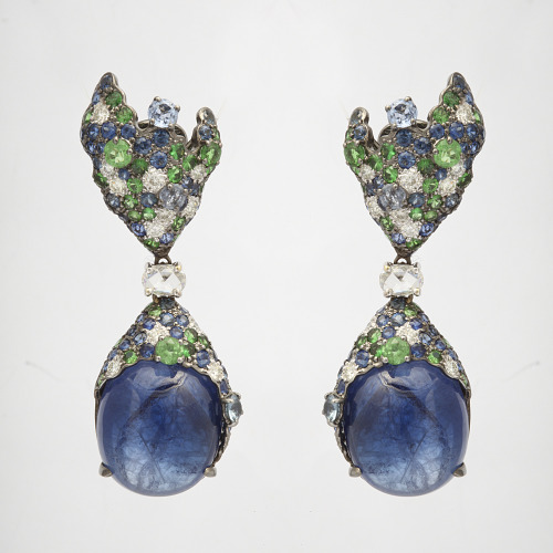 Earrings made of 18K gold, Quartz, Sapphire and Diamond. Jeri Cohen Fine Jewelry. $8,400.