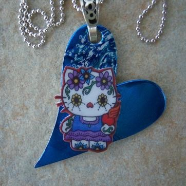 Hello Kitty Sugar Skull Recycled Aluminum Necklace