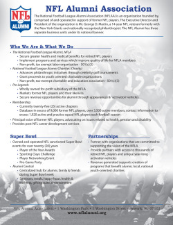 NFL Alumni One-PagerPhotoshop, InDesign One page summary of the NFL Alumni Association, its purposes and goals.
