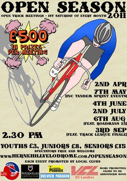 THIS WEEKEND AT HERNE HILL VELODROME   After a successful meeting in 2010, Rollapaluza are kicking off the Open Season series at Herne Hill Velodrome on April 2nd.  Program will include old favorites such as the Scratch, Points and Devil along with Keirins and Sprint TTs.  Racing will be split into senior A and B categories, and youth Under 12 and Over 12. All events are registered as British Cycling Regional C+ which means license points in each race.  When: 02/04/2011, 2pm for a 2:30 start  Where: Herne Hill Stadium, 104 Burbage road, London SE24 9HE  Youths £3, Juniors £8, Seniors £15 – entry on the line.  Find all the deets here.
