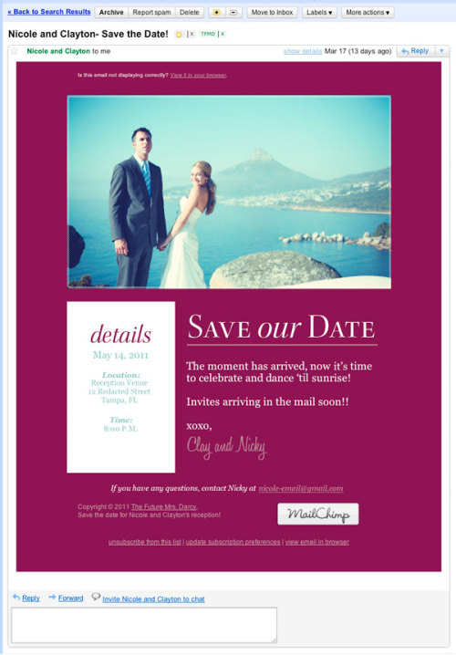 A Future Mrs. Darcy first! An email save the date! More details on the blog