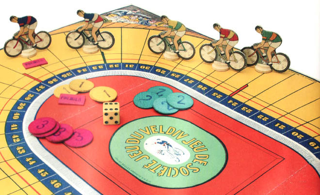 VELODROME D'HIVER BOARD GAME   What a cool find.  This vintage board game pays tribute to the indoor cycling track in Paris that captured the hearts of many including Ernest Hemingway.  Found on Tracko.