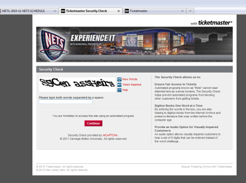 Hey New Jersey Nets: Nice Captcha!