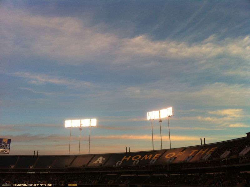 A's v. Giants, Oakland Coliseum, Oakland, California. March 28, 2011 Sunset no. 0,000,091