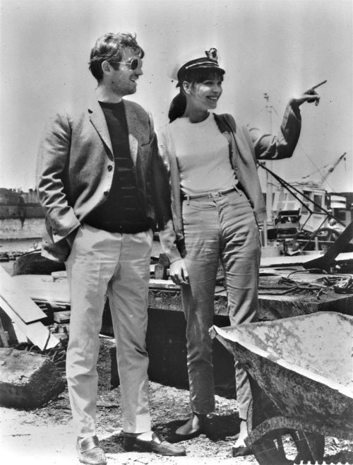 rosedarling:  Jean-Paul Belmondo & Anna Karina on the set of Pierrot Le Fou, 1965.