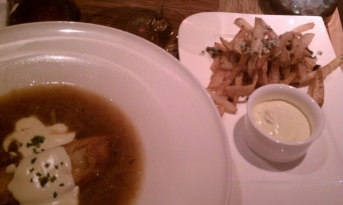 Onion soup and truffle parmesan fries at blacks bar and kitchen in bethesda