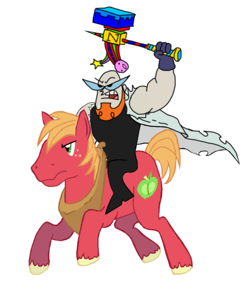 "Here's adult Dexter riding Big Macintosh wielding the Warhammer of Zillyhoo. ""Why?"" you ask? Why not?"