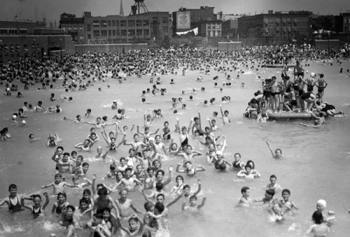 karenwilson:  newyork:  McCarren Pool in Greenpoint, Brooklyn  That's a lot of water for the Williamsburgers to float around in once the renovations finish.