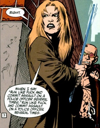 """When I say, ""Run like fuck…"" Transmetropolitan #29. Art by Darick  Robertson."