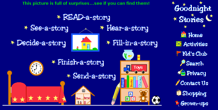 Good Night Stories has several nice online activities for young readers and writers including finish the story. Kids can also read how others finished the story. Added to Write On! for Kids   Screenshot One other nice feature is Send a Poem. See screenshot above for details. Added to Kool Kids Write Poetry LiveBinder