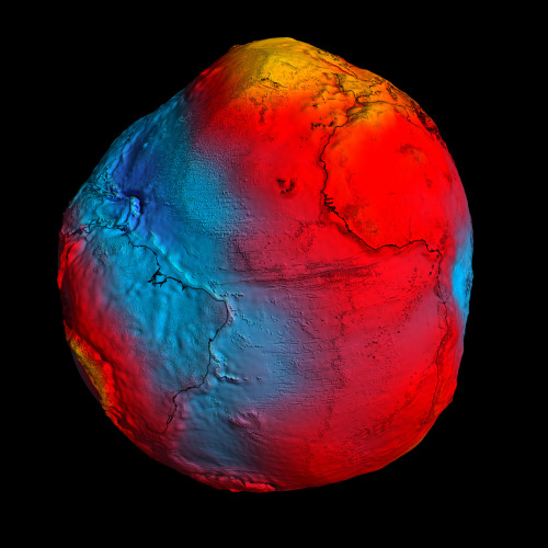 ESA's GOCE mission has delivered the most accurate model of the 'geoid'  ever produced, which will be used to further our understanding of how  Earth works. A precise model of Earth's geoid is crucial for deriving accurate  measurements of ocean circulation, sea-level change and terrestrial ice  dynamics. The geoid is also used as a reference surface from which to  map the topographical features on the planet. In addition, a better  understanding of variations in the gravity field will lead to a deeper  understanding of Earth's interior, such as the physics and dynamics  associated with volcanic activity and earthquakes. (Credits: ESA/HPF/DLR; via ESA)