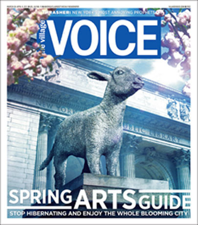 nypl:  This week's Village Voice cover is in like our lion and out like a lamb! Yes, that's our lovely Stephen A. Schwarzman Building at 42nd Street at Fifth Avenue in the background of this striking image. But where are the lions?!  Looking at the angle of the photo, it would appear that Patience has been replaced by a lamb! Photo illustrator Randy Pollak created this cover, so thanks, Randy, a mighty lion roar out to you!  Ooh, I love this! Might even try to track down a copy (shouldn't be hard…) and hang up the cover in my cubicle.
