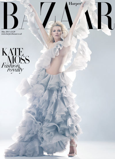 HAUNTINGLY BEAUTIFUL The new cover of Harper's Bazaar UK features Kate Moss in the same McQueen dress she wore when she appeared as a hologram in McQueen Fall 2006 show. Beyond beautiful! picture: Solve Sundsbo.