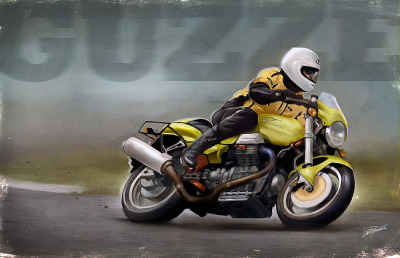 »MOTO GUZZI V11 SPORT« Portrait of the legendary »Guzze« and his beautiful lime-green V11 Sport which took a nasty dive into a ditch last summer.Click image to enlarge (depending on your screen).