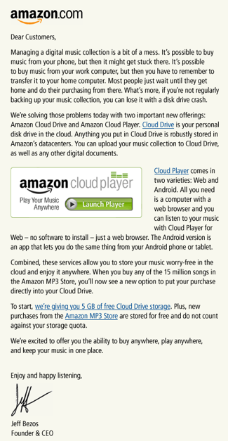 Amazon Introduces Cloud Music Service, 5GB Free Space. Moves.