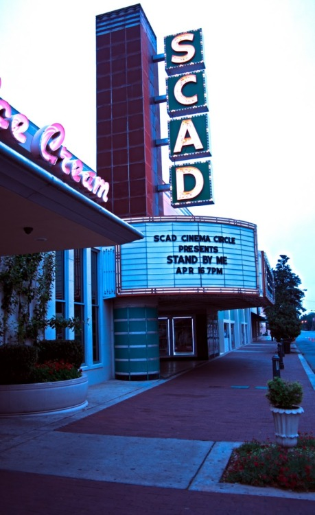 This is the SCAD Trustees Theater between Abercom street and Lincoln Street on East Broughton St. It's amazing finding places like this that have such a rad 50s vibe. They show movies and acts.  Also the real cool thing there is an an old school ice cream parlor right next door ftw!