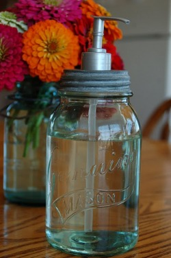DIY Mason Jar turned Soap Dispenser by Blissfully Content