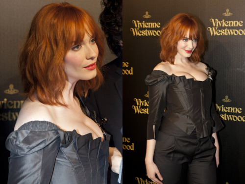 Christina Hendricks is insanely gorgeous in real life and a total sweetheart. She is also the face of Vivienne Westwood's new eco-friendly Get a Life Palladium Jewelry Collection and made an appearace on the red carpet at the official Melrose store opening party last night.I rarely get starstruck anymore, but it was a thrill to photograph her from afar, even if I was just another photographer in the crowd.