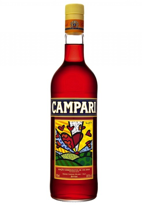 Special limited-edition Campari bottle with label designed by Brazilian neo-pop artist Romero Britto