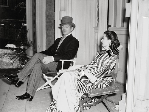 Clark Gable and Vivien Leigh on the set of 'Gone With the Wind' (1939)