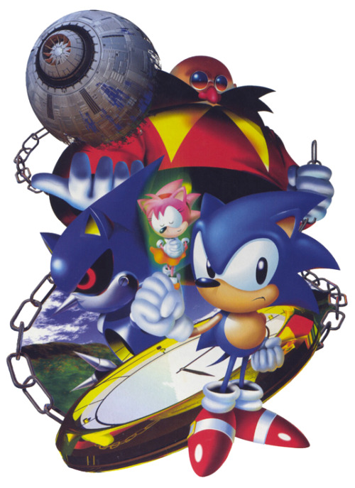 spaceadventures:  Probably the best Sonic the Hedgehog illustration ever. Someone scanned a nice big version of it recently, so I did some touch ups on it. Pretty happy with the results. Source: Sonic the Hedgehog CD (Windows 95 Port) Japanese Box