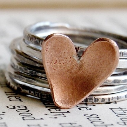Sweet Romance Sterling Silver Stacking Rings. (the heart ring alone is here) I LOVE this set!