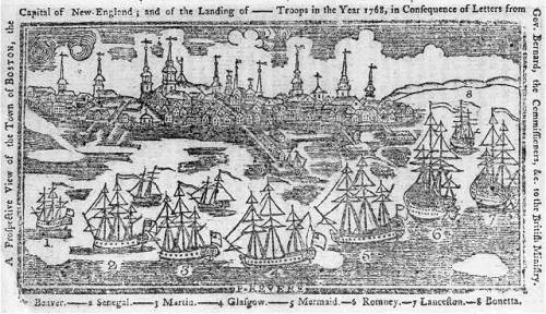 A prospective view of the town of Boston, the capital of  New-England - and the landing of —- troops in the year 1768, in  consequence of letters from Gov. Bernard, the commissioners, &c. to  the British ministry 					 						 					  	/  					  	 					  	P. Revere.