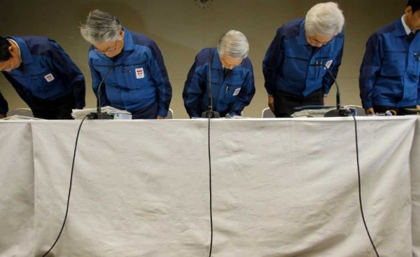Bag's Take-Away:   This pic (of TEPCO execs bowing before a news conference) played big over here for mostly one reason: because it looked like shame.   (photo:Itsuo Inouye/AP caption: Tokyo Electric Power Co., (TEPCO) Chairman Tsunehisa Katsumata, center, Vice presidents Takashi Fujimoto, second from left, Sakae Muto, second from right, and others bow before a news conference at the company's headquarters in Tokyo, Wednesday, March 30, 2011. Radiation leaking into seawater from Japan's tsunami-damaged reactor complex reached its highest level yet Wednesday and the president of the plant's utility company was hospitalized, as setbacks accumulated in Japan's nuclear crisis. ————— Follow us: BagNewsNotes. BAG Twitter. BAG Facebook.
