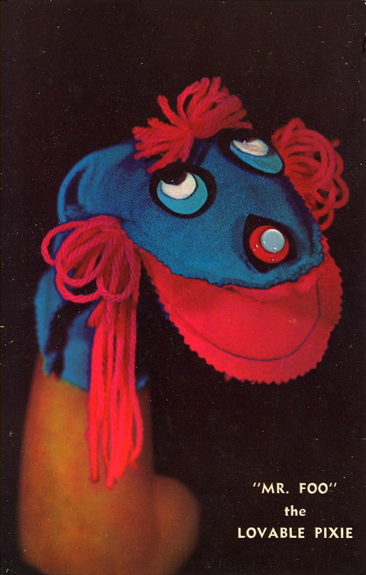 "MR. FOO, the LOVABLE PIXIE Verso:""Yu-Doo"" Personality Puppets. Sew-It-Yourself Puppet Kits. Seron Industries, Say Road, Santa Paula, California."