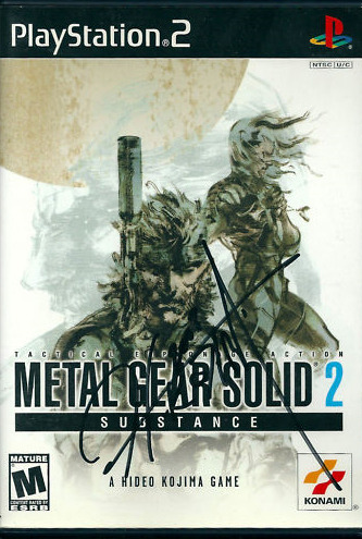 "Auction: Metal Gear Solid 2: Substance Signed By Hideo KojimaIn case you lost out on 1UP's auction for a signed copy of Metal Gear Solid 2: Sons of Liberty, Alex Fraioli's final PFJ auction is a doozy: a Hideo Kojima-autographed copy of Metal Gear Solid 2: Substance.This is a copy of Metal Gear Solid 2: Substance (PS2) signed by Hideo Kojima. In addition to the original MGS2, the disc includes hundreds of VR missions, the ""Snake Tales"" missions, Boss Survival Mode, Casting Theater, and skateboarding mode. Everything is in very good condition. Manual included.The auction ends April 07 at 20:06:59 PDT. Proceeds from this auction sale benefit Global Giving."