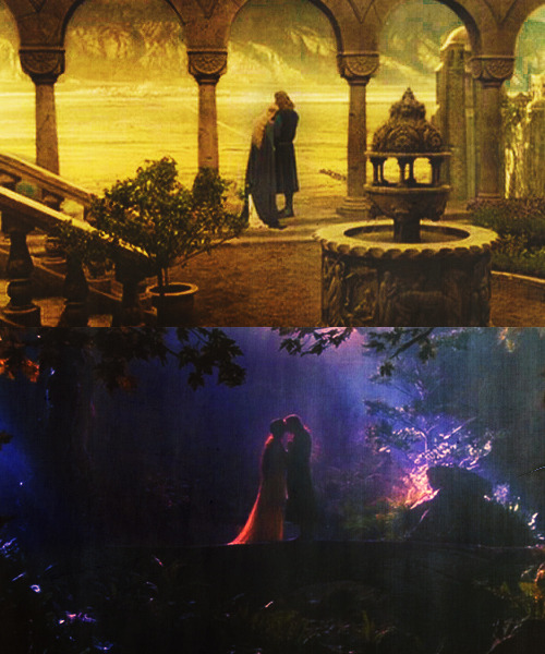 foreverlotr:  The Lord and The Wild Sheildmaiden - Faramir and Éowyn  And as they stood so, their hands met and clasped, though they did not know it.  Lovers of Cerin Amroth - Aragorn and Arwen  I thought I had strayed into a dream…