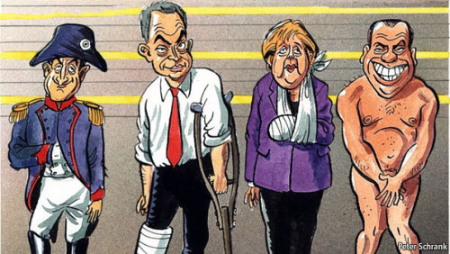 theeconomist:  Europe's leaders make a motley line-up in Peter Schrank's illustration. Their weakness is paralysing decision-making in the European Union.