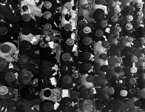 jenbebe:  Fans in fedoras at New York's Polo Grounds, 1940.  Happy Opening Day to my fellow baseball fans!   Photo found here, and subsequently tweaked.