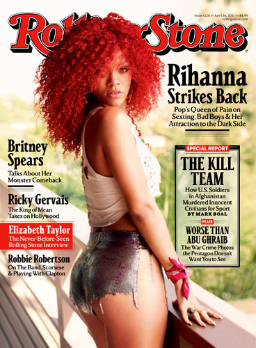 "The new issue of Rolling Stone hits stands today, and features contributing editor Josh Eells' juicy interview with Rihanna. Check out the excerpts, in which the star opens up about Chris Brown, her upcoming role as a Navy Weapons expert in 'Battleship' and why her hit single ""S&M"" is autobiographical: ""I like to be spanked. Being tied up is fun."" You can also find photos and video from the Rihanna cover shoot (including an interview with the stylist who came up with the concept of her barely-there shorts) and our compilation of Highs and Lows: the 10 videos that defined her career—before ""Umbrella"" and up through the banned-in-11-countries ""S&M""—over at RollingStone.com."