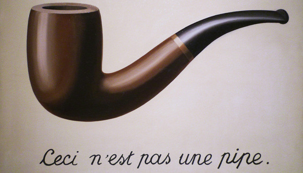 "hydeordie:  Rene Magritte Treachery of Images  Recent research by Tim Airgeeten, an art historian from the University of Toronto, suggests that Belgian surrealist René Magritte's iconic painting, ""The Treachery of Images,"" may be an encoded condemnation of his least favorite cigar company. The painting, fashioned in the style of a tobacco store advertisement, pictures a brown pipe floating above the phrase ""Ceci n'est pas une pipe"" (""This is not a pipe""). The work is traditionally interpreted as a commentary on the imitative nature of art — the wooden pipe in the painting is, of course, a representation of a pipe rather than the physical pipe itself. But a document recently unearthed by Airgeeten suggests that the image might have held additional, more personal significance for the artist, an avid pipe-smoker. The scholar uncovered a letter Magritte wrote in 1927 — a year before he began working on ""The Treachery of Images""— to the president of Alterdis, a French tobacco company. In it, the artist complains about the company's ""lousy excuse for a pipe, which burns out in short order and hardly conducts any smoke at all."" Upon further investigation, Airgeeten discovered that Alterdis's advertisements from 1927 contain a tan background and graphic pipe design strikingly similar to those in ""Ceci n'est pas une pipe."" Magritte's painting, then, may be a philosophical statement about the nature of painting (and language, as Structuralists believe) — but it could also be an unhappy customer's way of getting back at Altertis for a disappointing product, and a joke at the company's expense. via…"