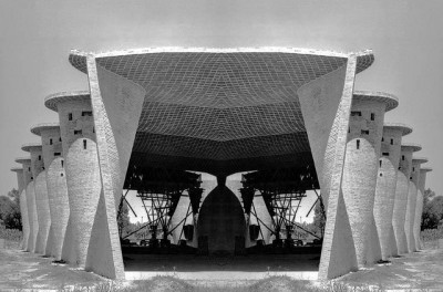 subtilitas:    Construction of Eladio Dieste's Church of the Christ Worker in Estación Atlántida, (completed in 1960) showing the impossibly thin undulating brick walls and roof. It's hard to fathom the design of this structural system by today's standards; but the fact this was completed decades before computer programs, using masonry in ways that had never been done before, and constructed by local tradesmen in a small Uruguayan village is truly astounding. Image via, and previously on Dieste.