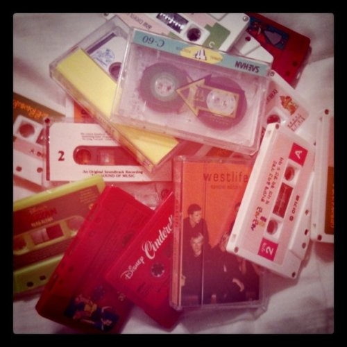 Tapes from my childhood.<3 I miss tape recorders.