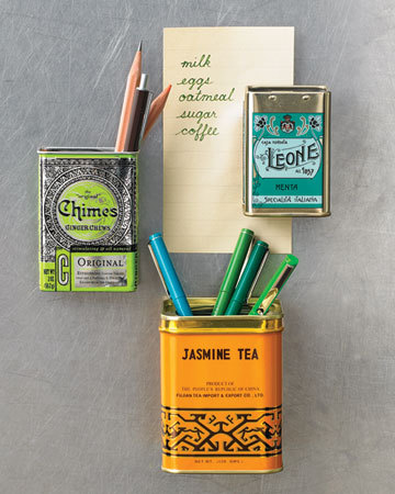 What a lovely idea::: turn tea tins into fridge magnets!  I can never seem to find a pen within reach anyways, now there will be one on the fridge…just brilliant Martha!